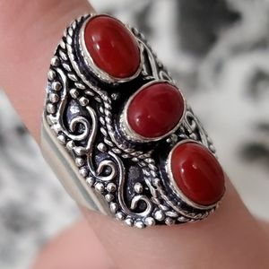 New Coral 925 Silver Statement Ring. Size 9.50